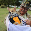 "A Chihuahua named ""Bella"" cuddles up in a blanket in the cool temps on Saturday Special photo by Travis Sloat"