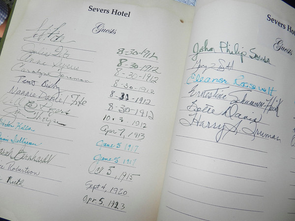 "This hotel log was on display at the Severs Hotel 100th Anniversary Gala, featuring the ""signatures"" of all the famous people who stayed at the hotel in its heyday."
