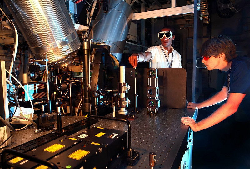 Researchers fine-tune an internal-combustion experiment at Sandia National Lab in Livermore.