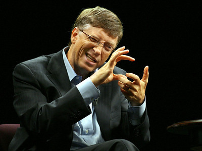 Microsoft co-founder Bill Gates makes a point at the 2006 TechNet Innovation Summit at Stanford University.