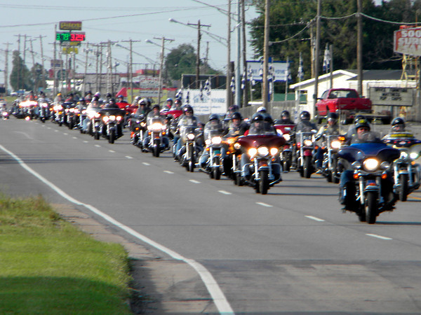 Legacy Run motorcycle riders head down U.S. 69 before spending Monday night in Muskogee on a 1,500-mile ride to the American Legion Convention in Houston. Hundreds of riders from across the Unit- ed States, plus Germany and Great Britain, are joining the run, which began Sunday in Indianapolis and ends Thursday. The run raises money and awareness for the American Legion's Legacy Scholarship program, which helps children of veterans who have died while on active duty since Sept. 11, 2001. Robert F. Wicker, a former post commander for American Legion Riders Post 1340 in Oklahoma City, said rid- ers hope to raise $450,000 this year. This is the first year the run has visited Muskogee, said Jim Roberts, post commander for Muskogee American Legion Post 15. Donations for the Legacy Scholar- ship Fund may be submitted to American Legion Post 15, P.O. Box 705, Muskogee OK 74402. Informa- tion: (918) 687-6171.