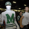 Muskogee High School senior Ethan Barton thinks his costume is all-white during the MHS Homecoming Coronation and pep rally.