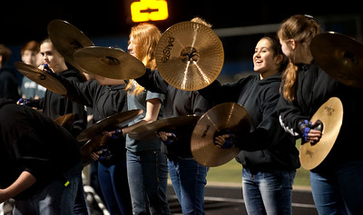 The Grace Community School drum line performs on the sideline during the football game against Houston Second Baptist at Clyde-Perkins Stadium in Tyler Friday Nov. 13, 2015.  (Sarah A. Miller/Tyler Morning Telegraph)