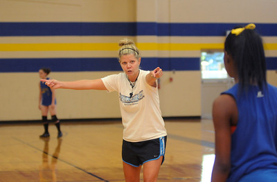 copyright 2012 Sarah A. Miller/Tyler Morning Telegraph  Chapel Hill High School volleyball coach Linda Godwin instructs her players during practice Thursday afternoon August 9.