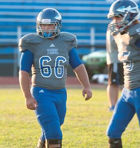 Frankston High School senior Bryson Bacon plays football Friday Sept. 25, 2015. Bacon is a also drum major.  (Sarah A. Miller/Tyler Morning Telegraph)