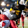 Tyler Junior College's Ken Burks is tripped up as they play Texas Institute of Agriculture and Technology Saturday night at Trinity Mother Frances Rose Stadium.<br /> <br /> (Sarah A. Miller/Tyler Morning Telegraph)