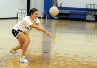 copyright 2012 Sarah A. Miller/Tyler Morning Telegraph  All Saints High School volleyball junior Madeline Wynne bumps the ball Wednesday during practice.