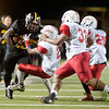 Tyler Junior College's Savon Rollison is pushed out of bounds by Texas Institute of Agriculture and Technology's Demetrius James Saturday night at Trinity Mother Frances Rose Stadium.<br /> <br /> (Sarah A. Miller/Tyler Morning Telegraph)