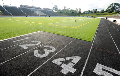 copyright 2012 Sarah A. Miller/Tyler Morning Telegraph  Work to improve the football field has been completed at Trinity Mother Frances Rose Stadium Friday. Changes include replacing and expanding the turf to serve soccer and football, downsizing the track from seven to five lanes and reworking each end of the field.