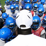 Ricklan Holmes, new JT head coach, talks to his team at a practice Monday morning. Herb Nygren Jr 081312