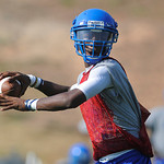 John Tyler QB Greg Ward works in a passing drill on the Lions first practice Monday morning. Herb Nygren Jr 081312