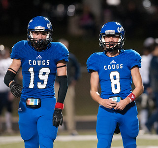 Grace Community School's (19) Mason Dacus and (8) Adam McKinney smile after teammate Brady Newman's touchdown during their game against Houston Second Baptist Friday Nov. 13, 2015. Grace won, 28-18.  (Sarah A. Miller/Tyler Morning Telegraph)