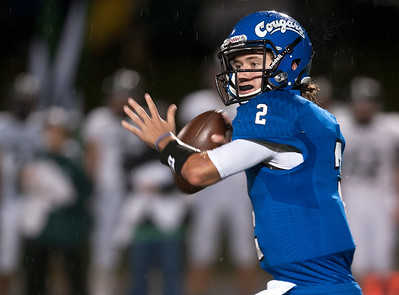 Grace's (2) Christopher Wilhelmi looks to make a pass as they play Bishop Thomas K. Gorman at Grace Community School Friday Nov. 6, 2015.  (Sarah A. Miller/Tyler Morning Telegraph)