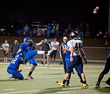 Grace Community School's Cristian Hooper scores a field goal during their game Friday night Nov. 13, 2015 at home against Houston Second Baptist. Grace won, 28-18.  (Sarah A. Miller/Tyler Morning Telegraph)
