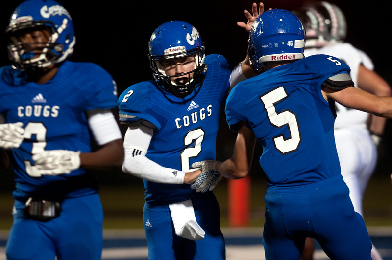 Grace's (2) Christopher Wilhelmi celebrates after a touchdown in the first half of their game as they play Bishop Thomas K. Gorman at Grace Community School Friday Nov. 6, 2015.  (Sarah A. Miller/Tyler Morning Telegraph)