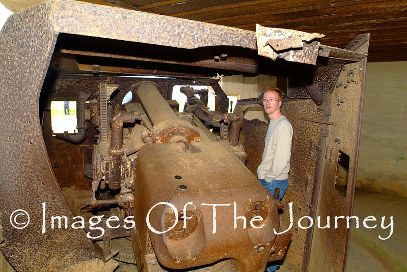My son Daniel who accompanied me on another trip to Normandy in 2006.<br /> Inside one of the turrets of the Batterie du Longues guns.