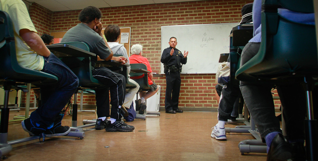 Oakland Police Lt. Fred Mestas talks with residents about Awareness and History of Oakland Gangs in a workshop after the announcement of a new crime prevention plan at Laney College in Oakland, Calif., on Thursday, October 15, 2011.