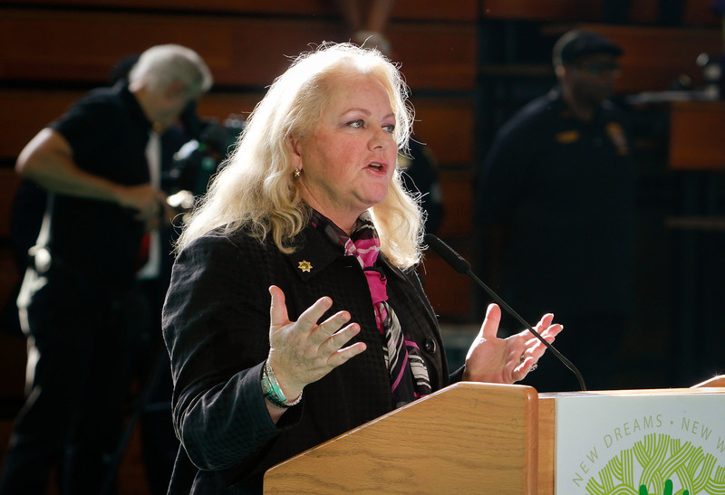 District Attorney Nancy O'Malley speaks during a presentation of a new crime prevention plan at Laney College in Oakland, Calif., on Thursday, October 15, 2011.