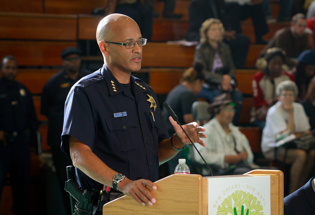 Oakland's interim Police Chief Howard Jordan speaks during the presentation of a new crime prevention plan at Laney College in Oakland, Calif., on Thursday, October 15, 2011.