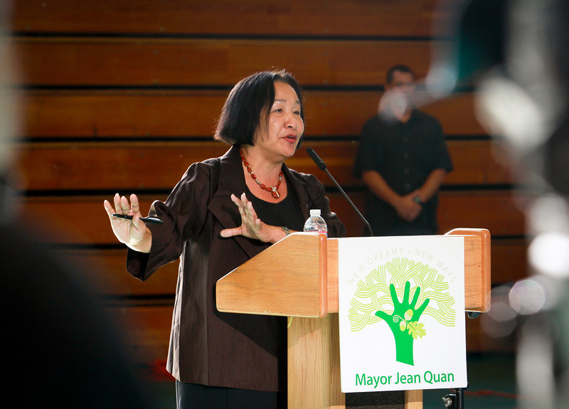 Oakland Mayor Jean Quan announces a new crime prevention plan at Laney College in Oakland, Calif., on Thursday, October 15, 2011.