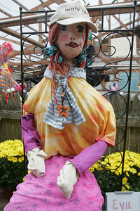 11OCT09  Self portrait 'Evie' by Evie Krislov at the East Oberlin Nursery Benefit Scarecrow contest. photo by Chuck humel