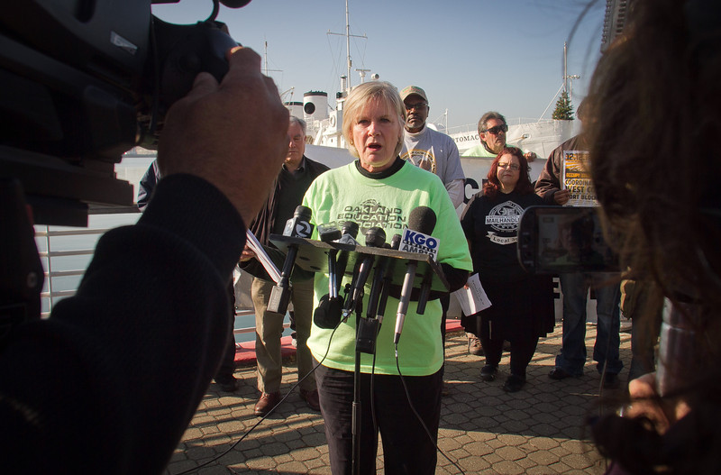 Betty Olson-Jones of the teachers Union speaks at a press conference organized by Occupy Oakland on plans about shutting down the Port of Oakland in Oakland, Calif., on Friday, December 9, 2011.