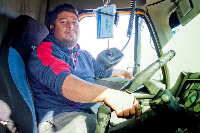 Truck driver Joe Youanny of San Mateo in his truck at the Port of Oakland in Oakland, Calif., on Friday, December 9, 2011. Story about how Occupy Oakland plans to shut down the Port of Oakland on December 12th.