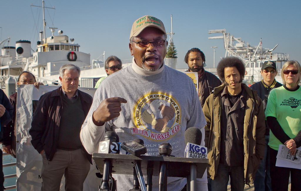 Union worker Clarence Thomas speaks at a press conference organized by Occupy Oakland on plans about shutting down the Port of Oakland in Oakland, Calif., on Friday, December 9, 2011.