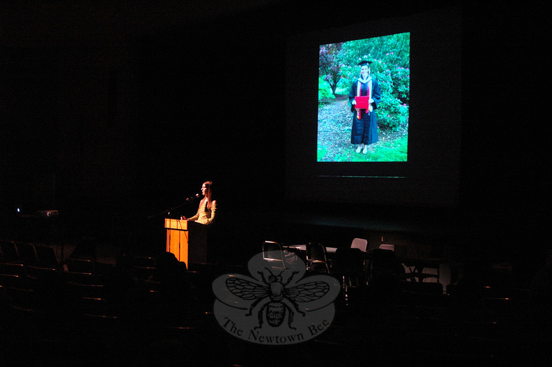 Jacy Good spoke before Newtown High School students during a presentation on Thursday, October 4. (Hallabeck photo)
