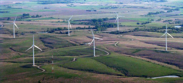 This same windfarm from the air. Pic taken April, 2010.