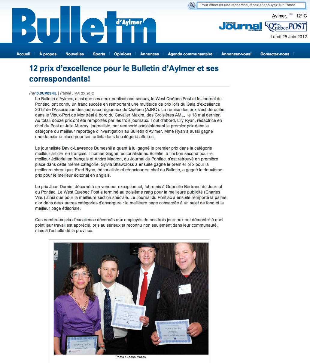 Bulletin d'Alymer June 25, 2012 http://www.bulletinaylmer.com/en/