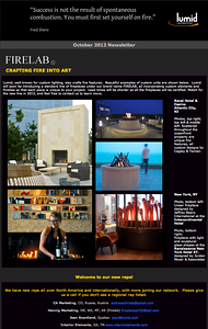 Lumid Firelab Newsletter - October 2012 issue. Revel Hotel, Hotel 57, and The Intercontinental NYC http://www.lumid.com/
