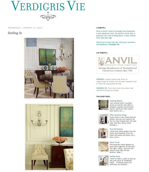 Verdigris Vie online magazine January 13, 2010 http://verdigrisvie.blogspot.ca/2010/01/settling-in.html