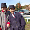 St Rose students Alex Gerbo (left) and Toni Leonardo were two of the students who had the opportunity to get In costume for a Civil War reenactment at St Rose School. (Bee Photo, Hallabeck)