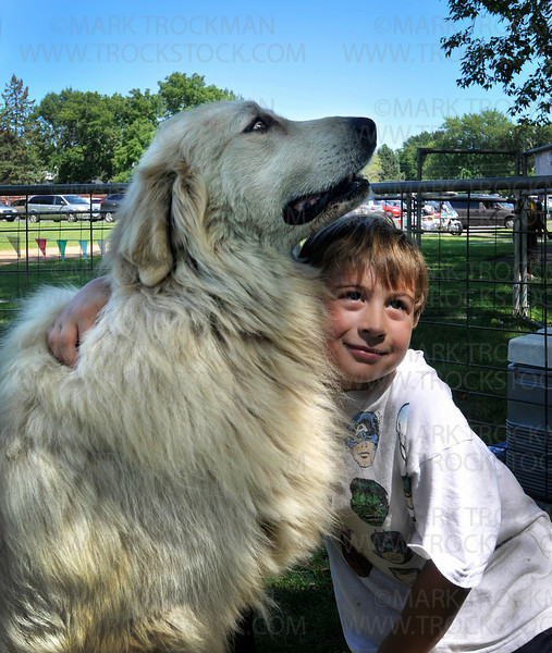 Toby, a seven-year-old Great Pyrenees, gets special attention from Dylan Bartness, also seven, in the petting zoo at the Corn Days summer festival at the Church of St. George in Long Lake Saturday, Aug. 14, 2010.