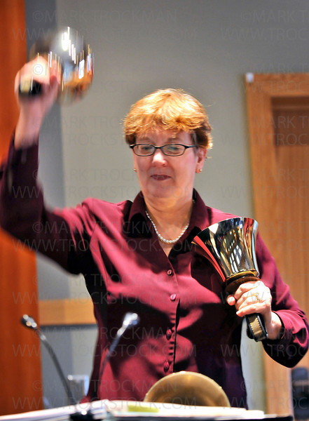 A member of Twin Cities Bronze performs before a packed house in McMillan Auditorium at the Minnesota Landscape Arboretum Sunday, Dec. 13, in Chaska.