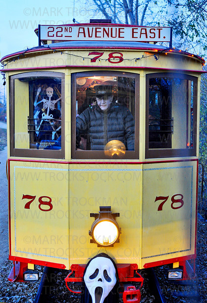 A ghoulish Trolley Operator pulls into the station at the Excelsior-Lake Minnetonka Historical Society in downtown Excelsior during the annual Booseum and Ghost Trolley event Saturday, Oct. 26, 2012.