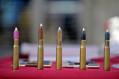 "Bullet Pens, made from .30 and .50 caliber shells were on display during Mainstreet Days Arts and Craft Fair Saturday, May 19, in Downtown Hopkins.  Tommy Koontz, ""The Pen Guy,"" sells wood products in non-traditional styles."