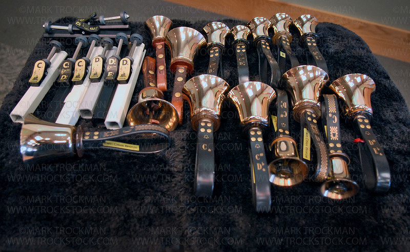 An assortment of handbells and handchimes lay in wait to be used by Twin Cities Bronze musicians in McMillan Auditorium at the Minnesota Landscape Arboretum Sunday, Dec. 13, in Chaska.
