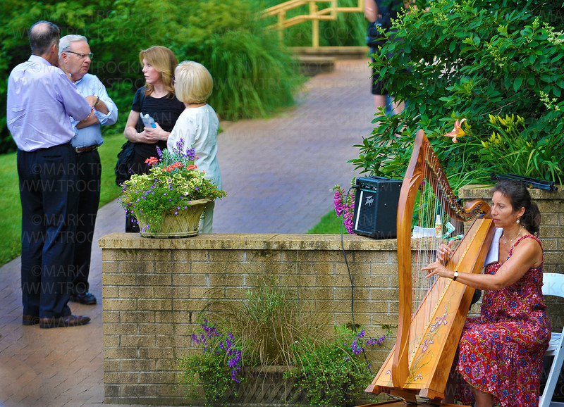 Minneapolis harpist Andrea Stern provides music at 'Noerenberg Gardens Garden Party' held at the Wayzata botanical garden Thursday, July 28, on Chrystal Bay on Lake Minnetonka.  Stern has played music at the annual Garden Party since its inception.