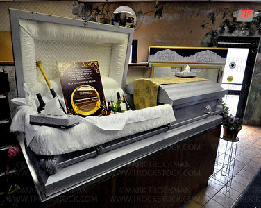 A coffin outfitted with memorabilia from the old Muni Thursday, April 28, in Wayzata.