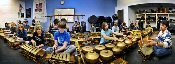 A panoramic view of the space the Main Street School class uses to tune-up before their Indonesian-instrument and Javanese dance performance at the Hopkins Center for the Arts.  Guest artist and instructor Joko Sutrisno conducts, right, Thursday, Mar. 10, in Hopkins.