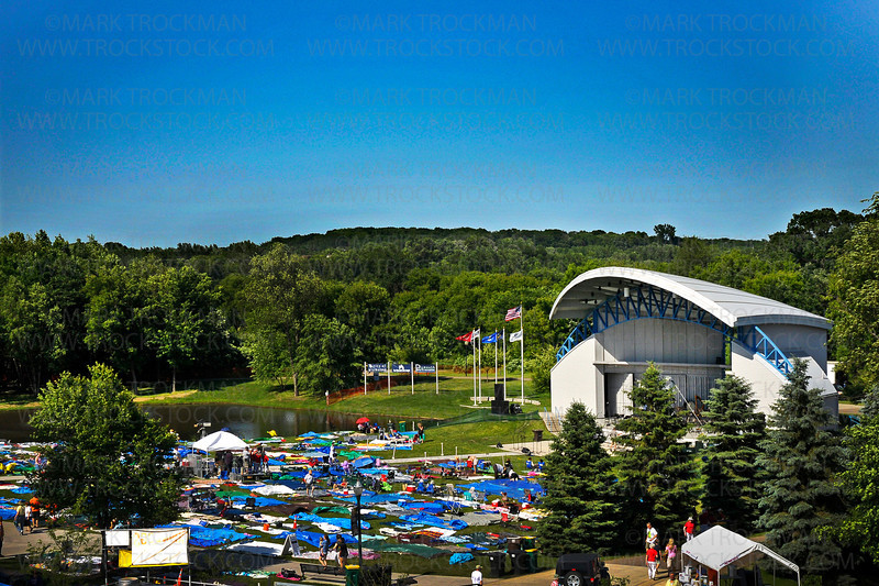 Plymouth's Hilde Amphitheater seen from the Public Safety building, Wednesday afternoon, June 29.  The patchwork of tarps and blankets are an integral part of the annual music, food and good fun festival.  2011 is the 39th annual Music in Plymouth.