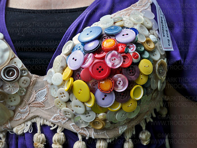 Teri Sapienza's button bra was created to honor her mother-in-law, who died in 2001 after a struggle with cancer.  Sapienza used colored buttons from her mother-in-law's extensive collection to create her piece.
