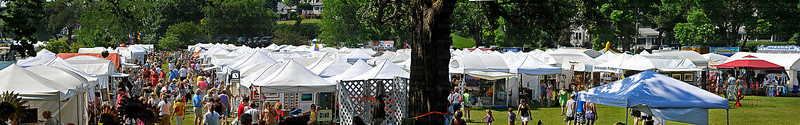 A panorama made from several photographs lends perspective to the size of the 32nd annual Art on the Lake, held on Excelsior Commons Sunday, June 10, 2012.