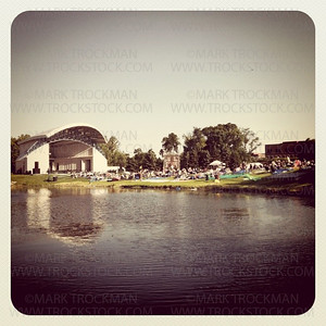 An iPhone photo of the view of the Hilde Amphitheater and the grounds at the 2011 Music in Plymouth celebration Wednesday, June 29, 2011. Viewed from across the pond, the 39th annual music festival takes shape.