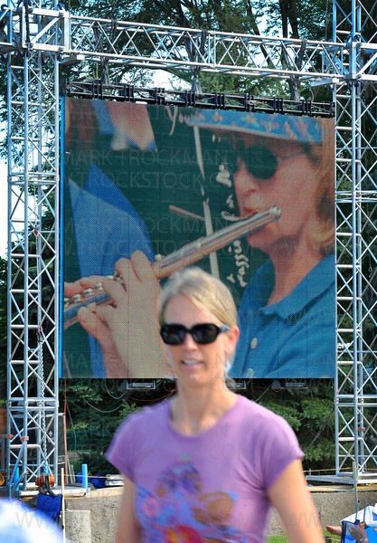 Music in Plymouth attendees had this jumbo screen with a live feed to see what was happening on stage.  The first musical group to fill the air with sweet tunes was the Plymouth Concert Band on Wednesday, June 30, on the Hilde Performance Center grounds.