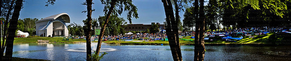 A six picture panoramic view of the Hilde Amphitheater, left, and the grounds at the 2011 Music in Plymouth celebration Wednesday, June 29, 2011.  Viewed from across the pond and through the trees, the 39th annual music festival takes shape.