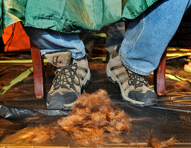 During:  Mark Hagen's freshly shorn hair piles up about his feet as his head is shaved during St. Bladrick's, a fundraiser to find a cure for a children's cancer, held Friday, April 24 at Jake O'Connor's Pub in Excelsior.