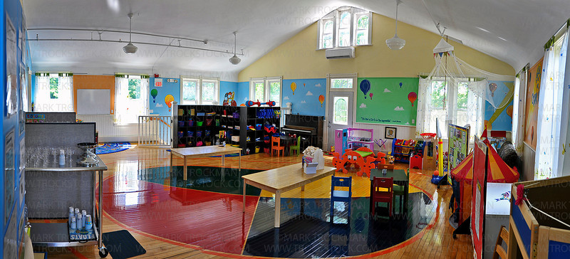 A panoramic view of one of many classrooms on the main floor, and upstairs at the Creative Kids Academy early education center Friday, June 22, in Orono.